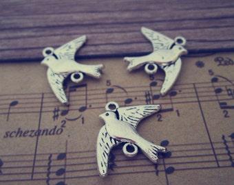 30pcs Antique silver bird pendant charm 17mmx22mm