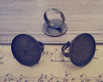 10pcs Adjustable antique  bronze Ring Blanks 25mm