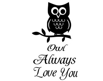 Owl Always Love You....Removable Wall Art Vinyl Decal sticker bedroom decal