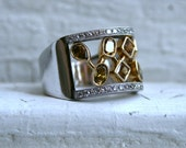 Vintage 14K White and 18K Yellow Gold Fancy Colored Diamond Ring - 1.84ct.