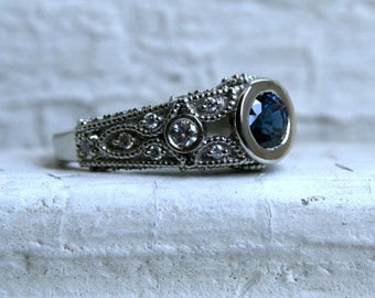 Vintage 14K White Gold Sapphire and Diamond Engagement Ring - 2.10ct.