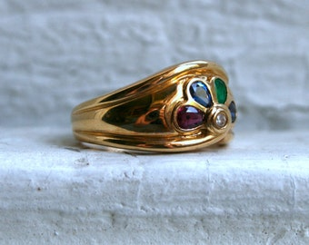 Vintage 18K Yellow Gold 'Fan' Ring with Diamond, Ruby, Sapphire, and Emerald.