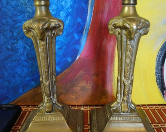 1920s Pair of Candle Holders - BRASS