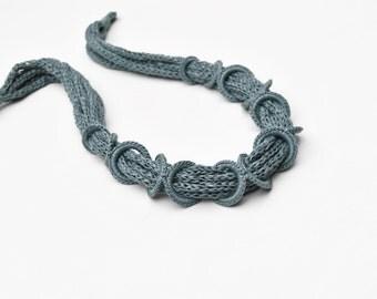 Handmade crochet necklace, fiber jewelry with vintage button - pastel green blue - crochet jewelry