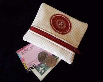 Coin Purse, Zipper Pouch, Change Purse, Wallet, primitive, cream, gingham, burgundy, embroidered