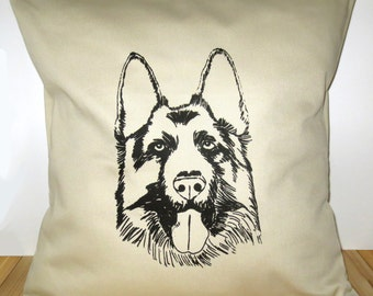 German Shepherd Dog Pillow Cover for 16''x16'' Cushion Screen Printed Puppy