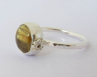 Sterling Silver Ring with Gold Rutilated Quartz Gemstone/ Handmade/ Size 8