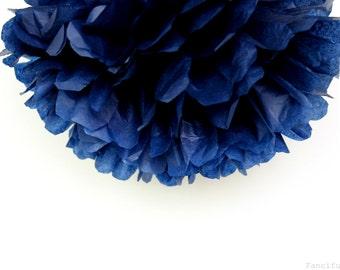 Navy Blue Tissue Paper Pom Poms- Wedding, Birthday, Bridal Shower, Baby Shower, Party Decorations, Garden Party