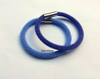 2 Purple Bead Crochet Bracelets / Beaded Crochet Bracelet /Purple Bead Crochet Bracelets