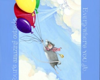 whimsical children's art original acrylic painting colorful balloons flying mouse