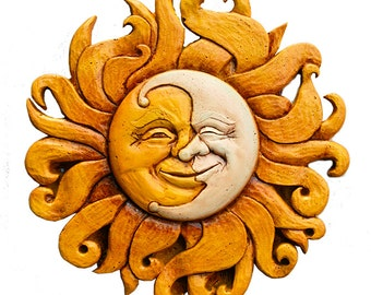 Sun and Moon Celestial Wall Plaque