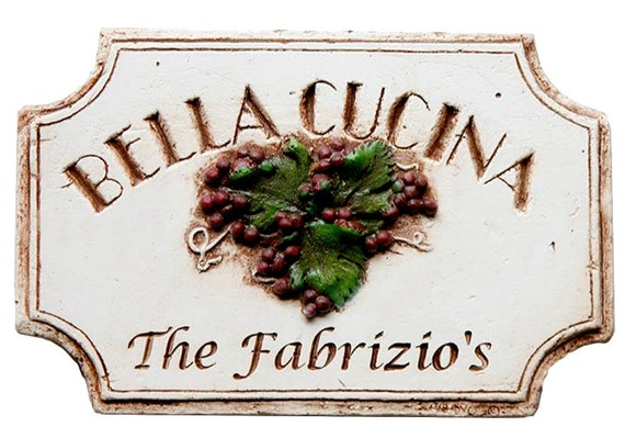 Italian Tuscan Personalized Kitchen Sign