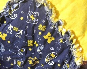 Michigan Wolverines Rag Quilt