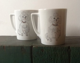 POODLE coffee mugs DOG tea cups holiday gift ODD kitschy set hand painted dog lover gift toy poodle Mothers Day
