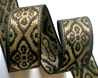 """Woven Ribbon - 1"""" x 2 yards Black and Gold Metallic Trim - Beautiful Quality and Unique Design"""