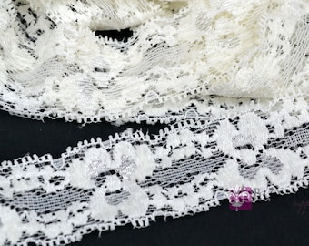 2, 5, and 10 Yards IVORY Stretch Lace 1 Inch Wide - Baby Headband Stretch Lace - Lingerie - Elastic Lace - DIY Headbands - Wholesale