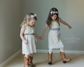Size 2T Ready to Ship Ivory Ruffle Dress with Toffee Sash - Flower Girl Dress - Wide Straps/Cap Sleeves, 1 Inch Ruffles