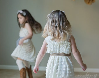 Ivory Ruffle Flower Girl Dress with Toffee Sash by Everything Ruffles - Wide Straps/Cap Sleeves, 1 Inch Ruffles