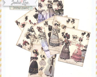 Mini Vintage French Fashion Marie Antoinette Style ATC Cards for card making etc -  by Gypsy Chick