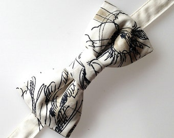 Men's  bow tie, illustrated fabric bow tie, men' s fashion
