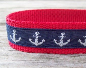 Salty Dog Nautical Navy & Red Collar 1 in wide