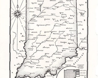 vintage map of Indiana hand drawn in black and white, a page from a 1955 encyclopedia