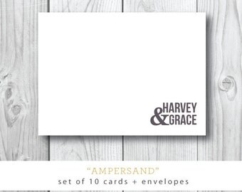 Ampersand Printed Stationery | Newlywed Stationery | Wedding | Note Cards and Envelopes | Printed by Darby Cards