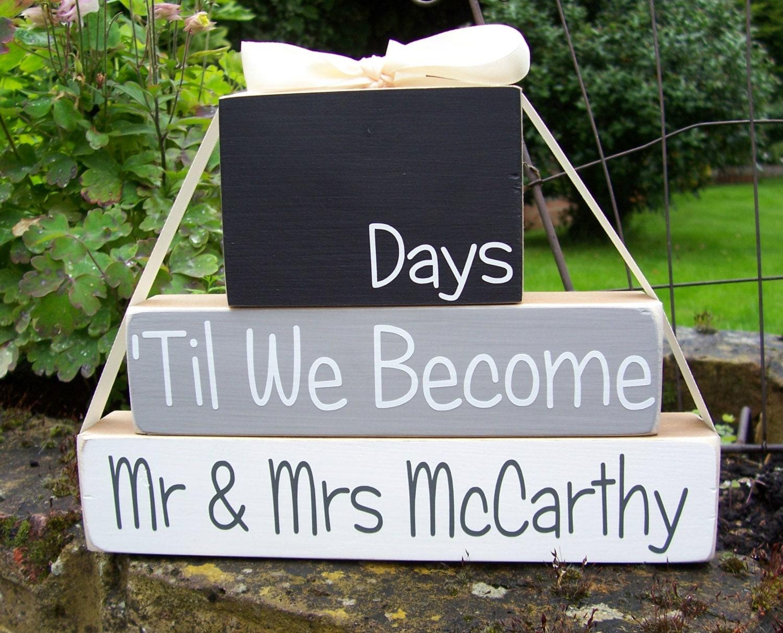 Countdown To Wedding Gifts: Personalised Wedding Countdown Blocks Engagement Gift