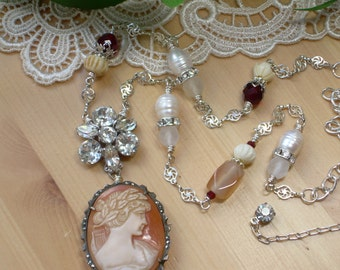 Upcycled Jewelry ~ Vintage Carved Shell Cameo ~ 800 Silver ~ Marcasite Brooch ~ Rhinestone Earring ~ Freshwater Pearls ~ Bone Necklace