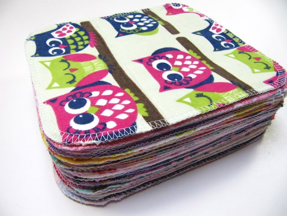 Reusable Cloth Wipes, Family Cloth, 30 Girls Mixed Prints Set, Cloth Wipes, Flannel Cloth Wipes, Cloth Diaper Wipes