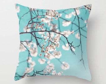 Pillow Case- Throw Pillow- Home Decor- ombre teal sky white flower tree spring