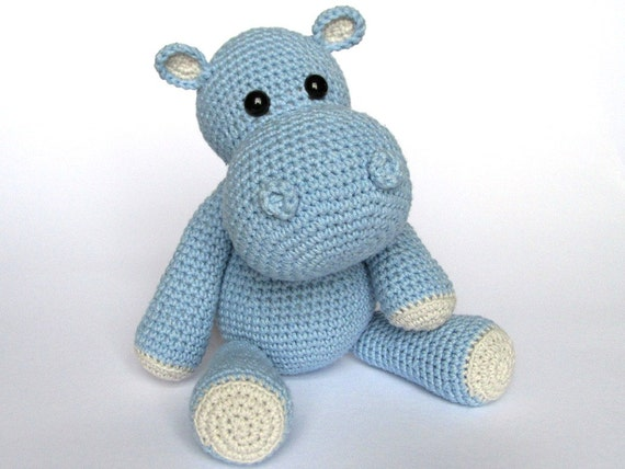 Amigurumi Animals For Beginners : Little Hippo Timi Amigurumi Crochet Pattern / PDF e-Book