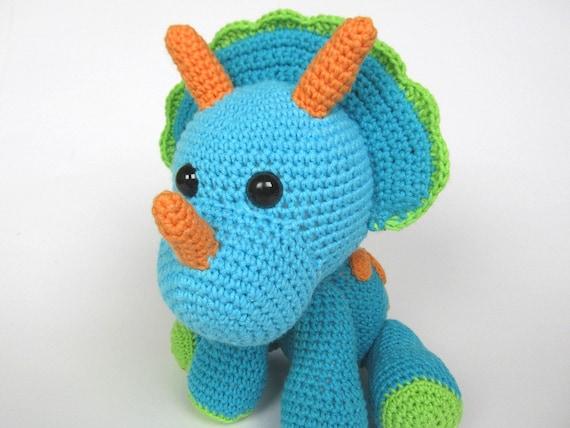 Free Crochet Pattern For Dinosaur Beanie : Triceratops Tripi Amigurumi Crochet Pattern / PDF e-Book
