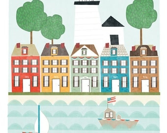 Mystic Connecticut art print illustration - 11x14 - city art poster Connecticut