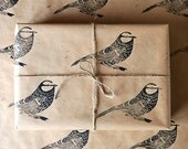 Lino Printed Bird Gift Wrap - Blue Tit - Three Sheets