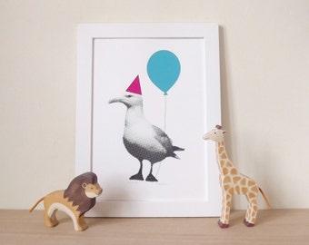 Seagull Print, Party Animal Poster, Seagull Digital Poster Print, Seaside Art, Nursery Art, Kids Poster, Fun Print, Seagull Photograph