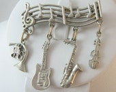 "Vtg Pin Brooch 1.5"" Pewter Music Musician Guitar Dangles"