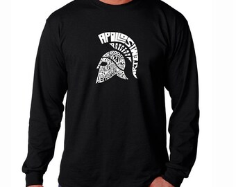 Men's Long Sleeve T-Shirt - Spartan - Created out of the Main 14 Greek Gods / Olympian Deities