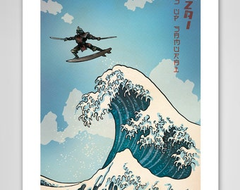 Surfs Up Samurai - Great Wave Inspired Art Print 11x17 by Rob Ozborne