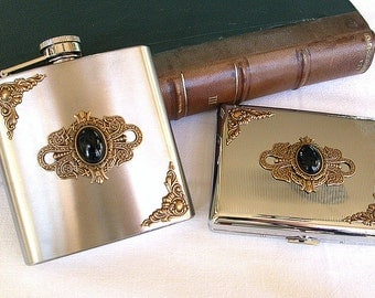 Set of Flask 6 oz and Cigarette Case - Victorian Gothic Accessories
