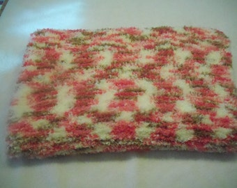 Soft Pink, Brown & Cream Knitted  Baby Afghan