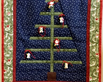 QUILTED CHRISTMAS TREE Wall hanging home made I call the Charlie Brown Tree with or without ornaments