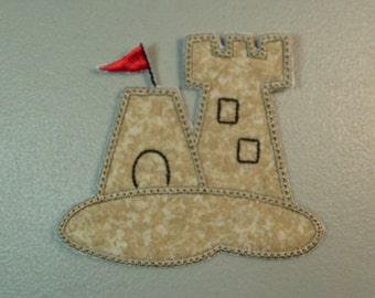 Sand Castle iron on or sew on machine embroidered applique