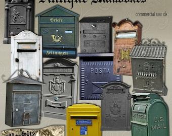 Antique Mailboxes Digital Scrapbook Set