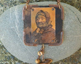 Native American necklace Kickisomlo mixed media jewelry Chief Seattles Daughter