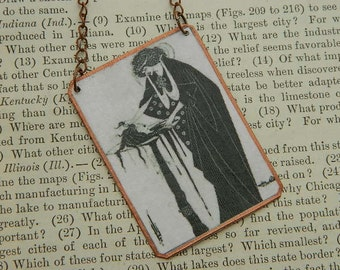 Art necklace Beardsley necklace  Aubrey Beardsley jewelry mixed media jewelry
