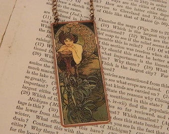 Mucha necklace mixed media jewelry Emerald woman  wearable art Mucha jewelry