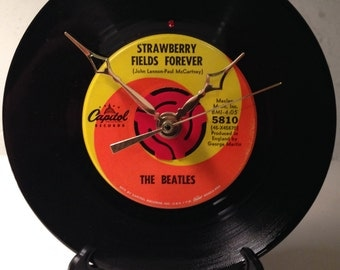 "Recycled BEATLES 7"" Record / Strawberry Fields Forever / Record Clock"