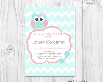 BABY SHOWER GIRL owl aqua chevron printable invitation
