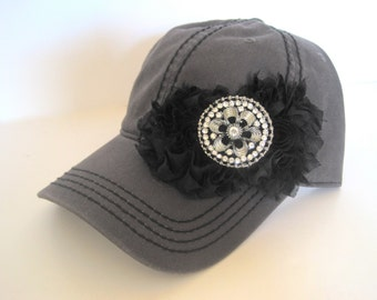Charcoal Grey Trucker Baseball Cap with Black Stitching and Black Chiffon Flowers and Rhinestone Accent Hats Accessories